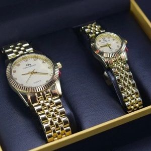Couples him and her iced out watch set